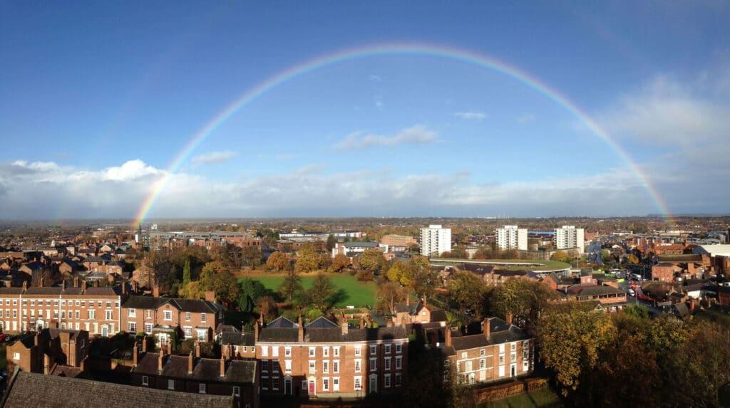 cathedral at height tower rainbow