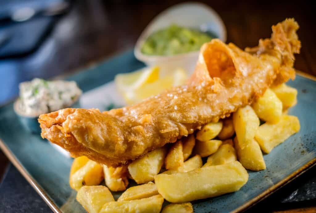 nelsons bar deep fried battered north sea haddock and chips