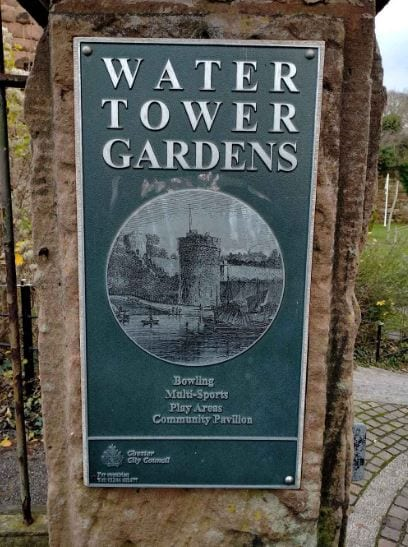 water tower gardens plaque