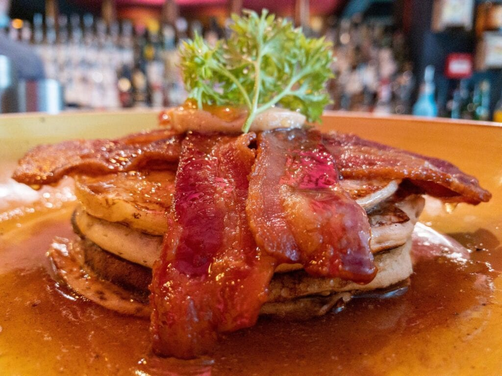 The Suburbs Buttermilk Pancakes Bacon Maple Syrup And Cinammon Butter