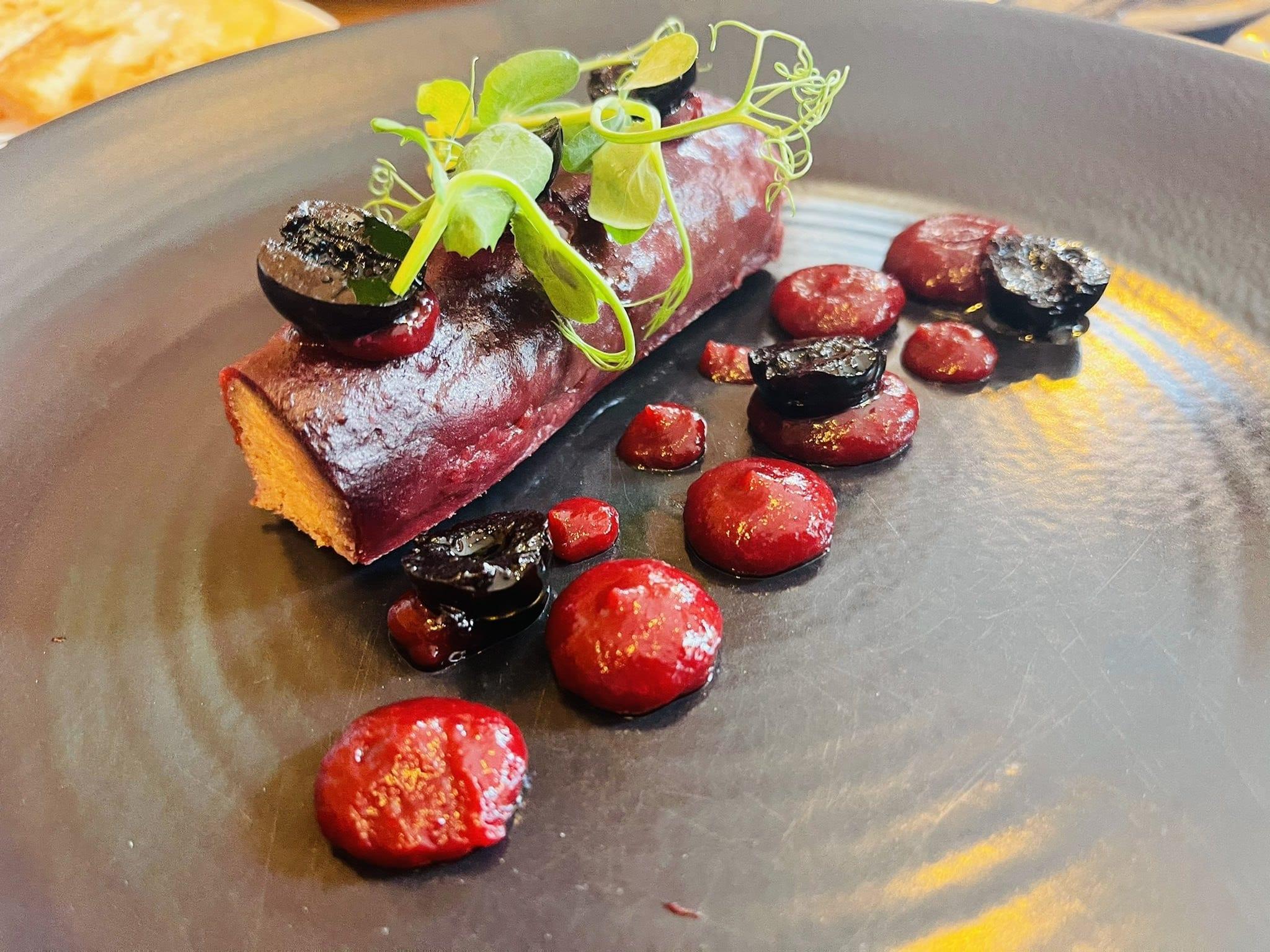 the yard chicken liver parfait cherry toasted brioche