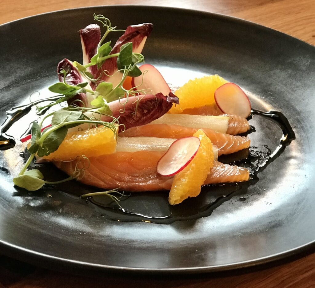 the yard limoncello cured salmon pickled cucumber chicory radish salad