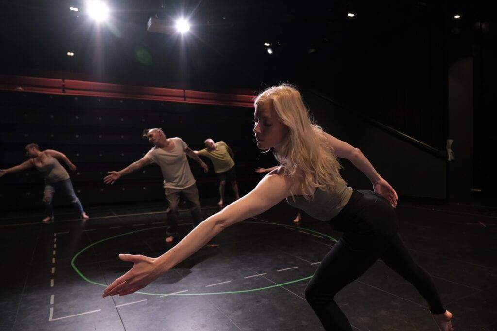 fallen angels dance theatre rehearsing at garret theatre, storyhouse