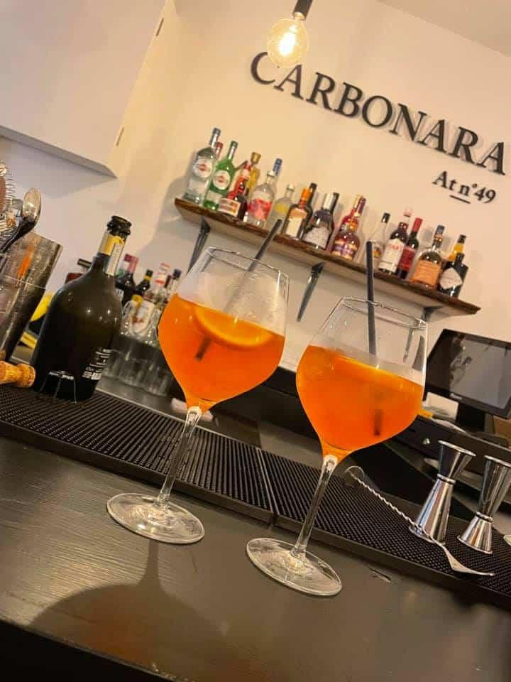 carbonara italian restaurant chester aperol spritz